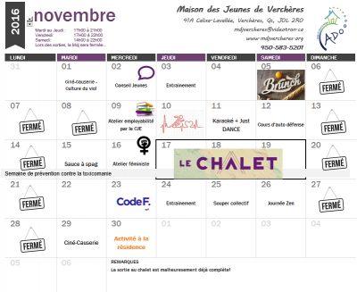 Calendrier de novembre