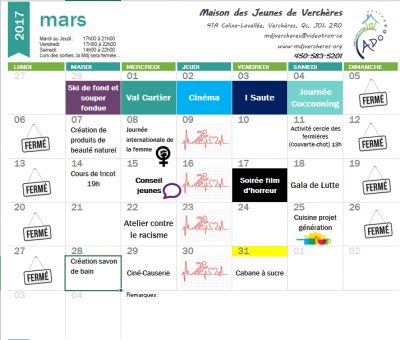 Calendrier Mars
